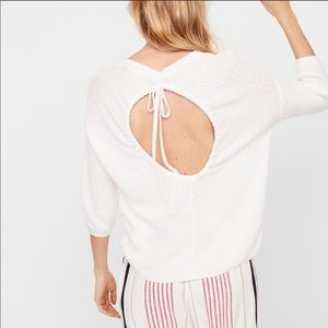 Express NWT White Sweater with Open Back SZ PS